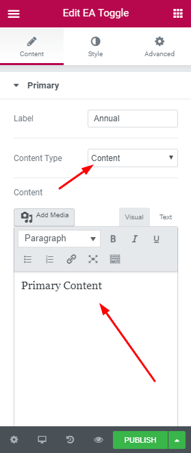Content Toggle