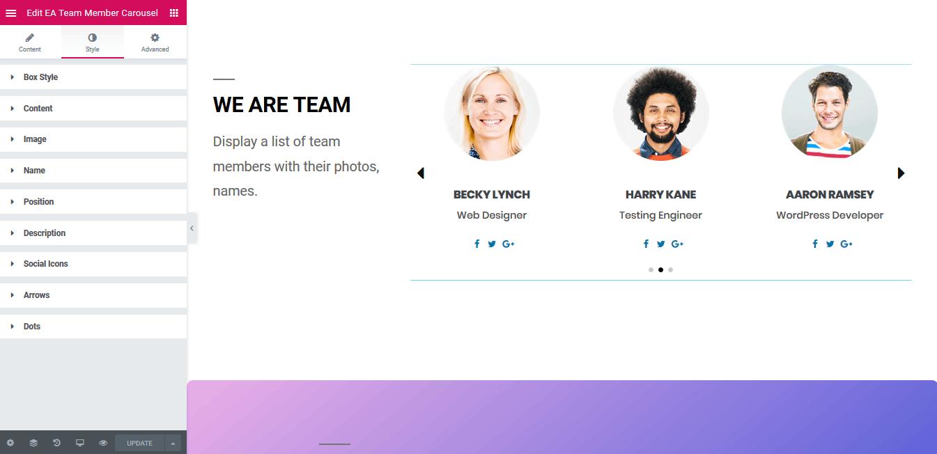 Team Member Carousel