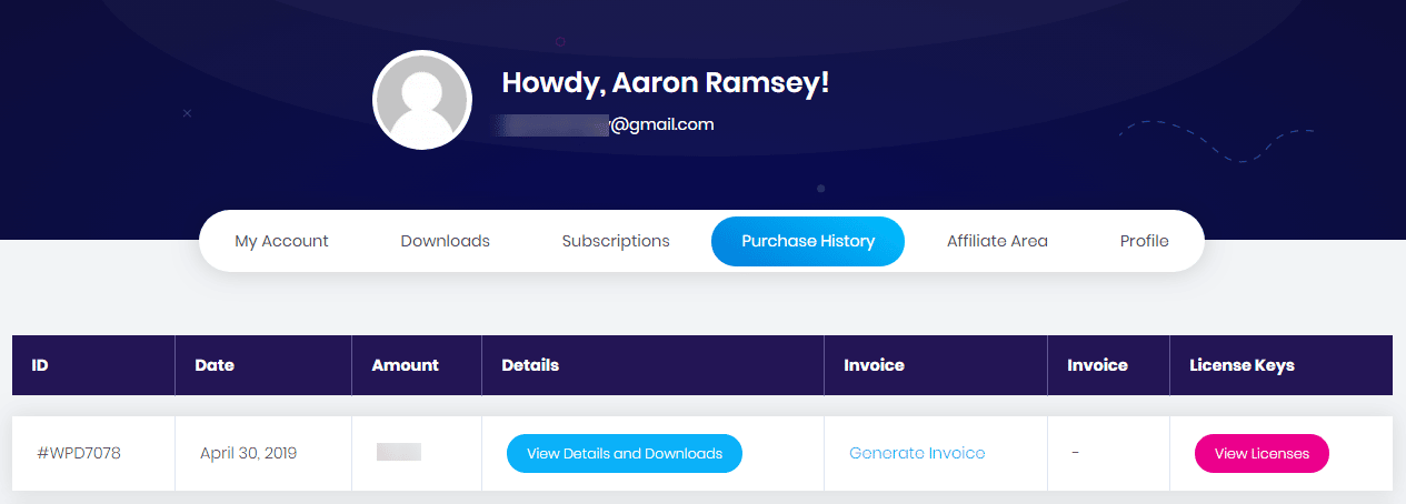 Essential Addons Purchase History