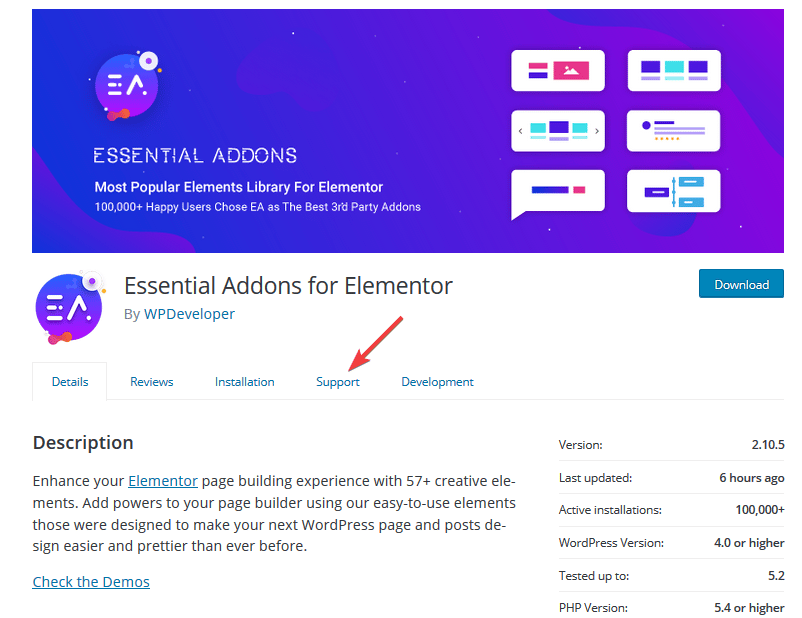 essential addons support