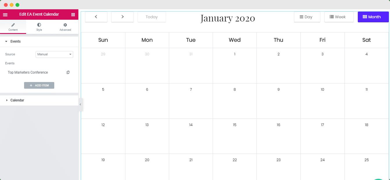 Event Calendar Elementor