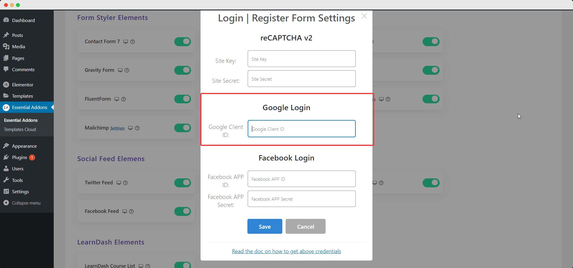 Social Login reCAPTCHA